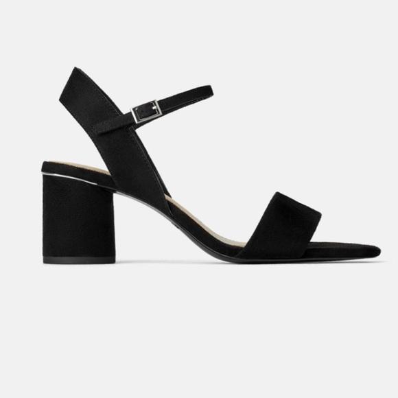 ZARA Chunky Round Block Heel Sandals Faux Suede